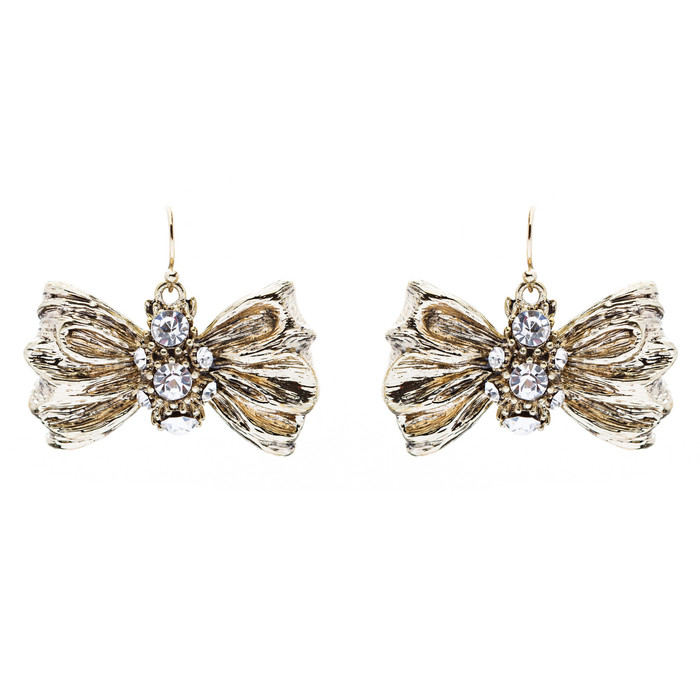 Chic Sparkle Bow Tie Ribbon Design Crystal Fashion Dangle Drop Earrings Gold
