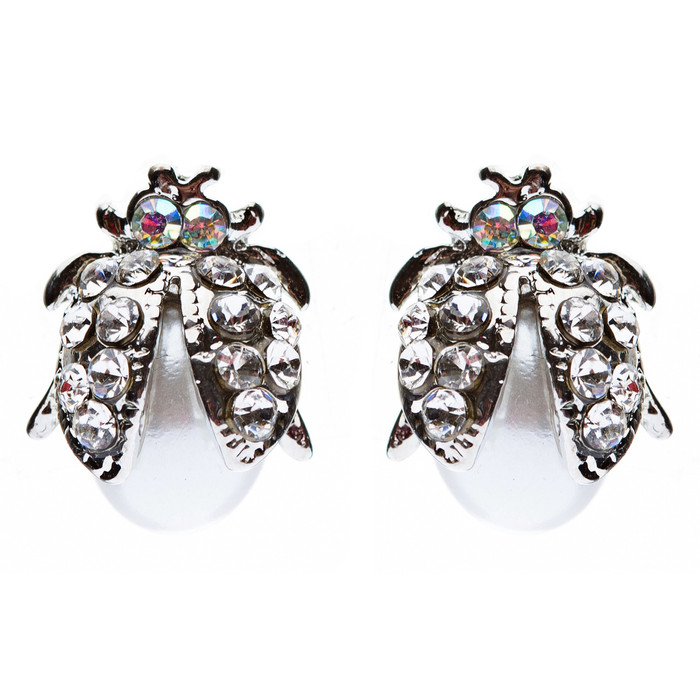 Cute Little Ladybug Bug Crystal Rhinestone Fashion Stud Earrings Silver White