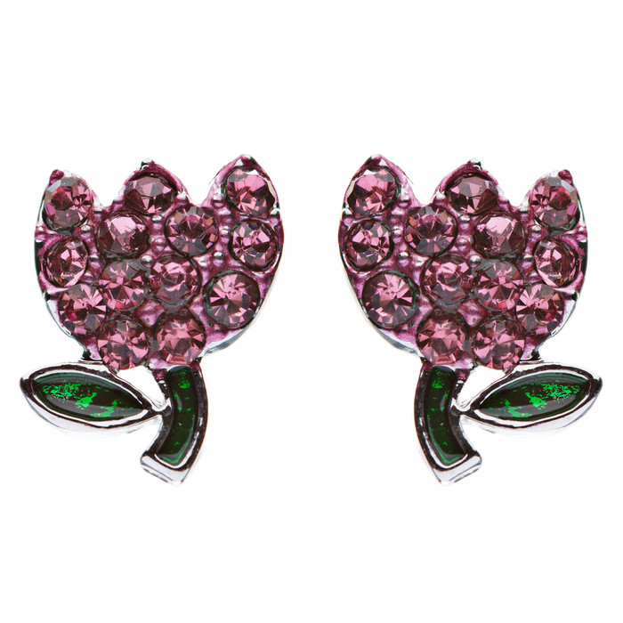 Gorgeous Crystal Rhinestone Tulip Flower Fashion Stud Earrings Silver Pink
