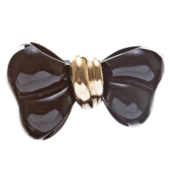 Adorable Cute Epoxy Bow Tie Ribbon Adjustable Stretch Fashion Ring Black