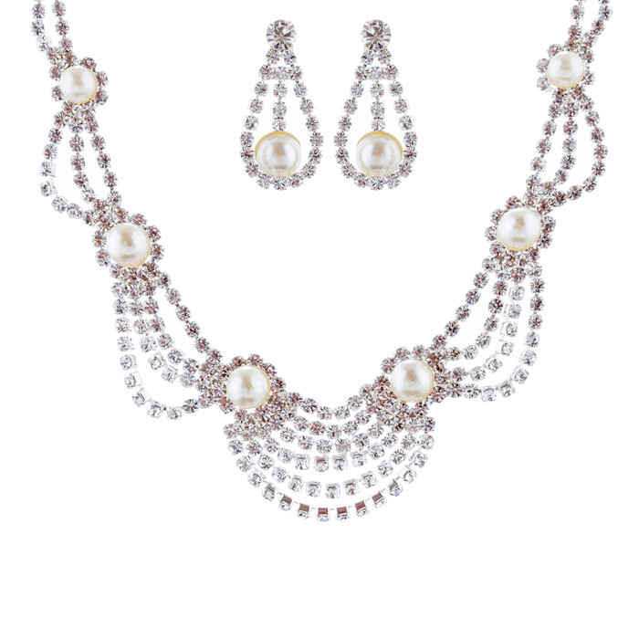 Bridal Wedding Jewelry Set Crystal Rhinestone Pearl Elegant Classy Necklace