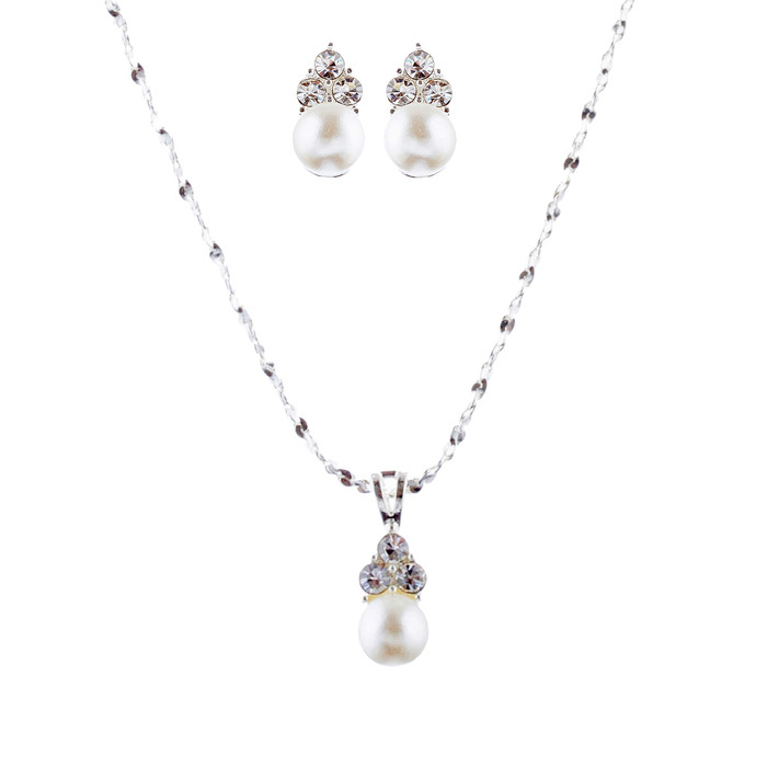 Bridal Wedding Jewelry Set Crystal Rhinestone Pearl Simple Design Silver White