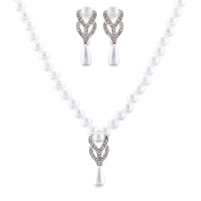 Bridal Wedding Jewelry Set Crystal Vintage Single Strand Pearls Necklace Silver