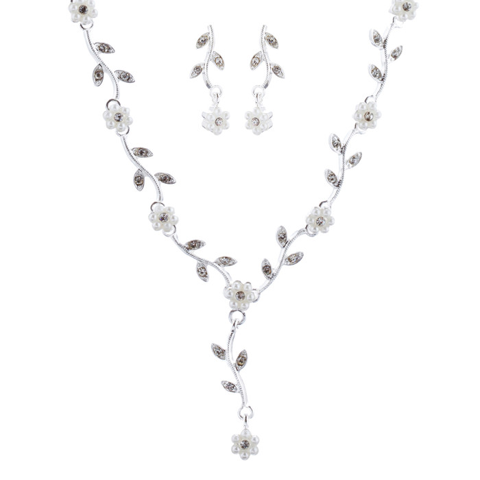 Bridal Wedding Jewelry Set Crystal Pearl Beautiful Flowers Vine Necklace Silver
