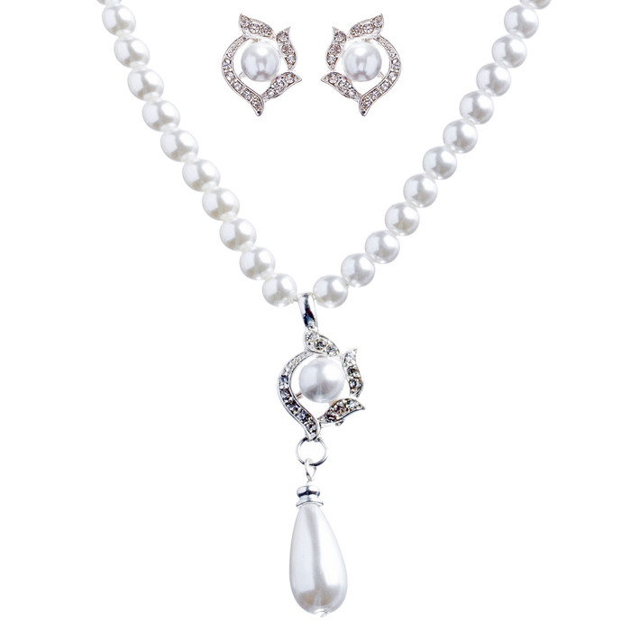 Bridal Wedding Jewelry Set Crystal Pearl Teardrop Dangle Necklace White