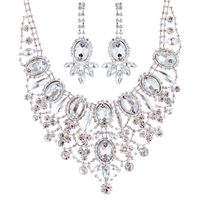 Bridal Wedding Jewelry Set Crystal Rhinestone Luxurious Dazzle Necklace Silver