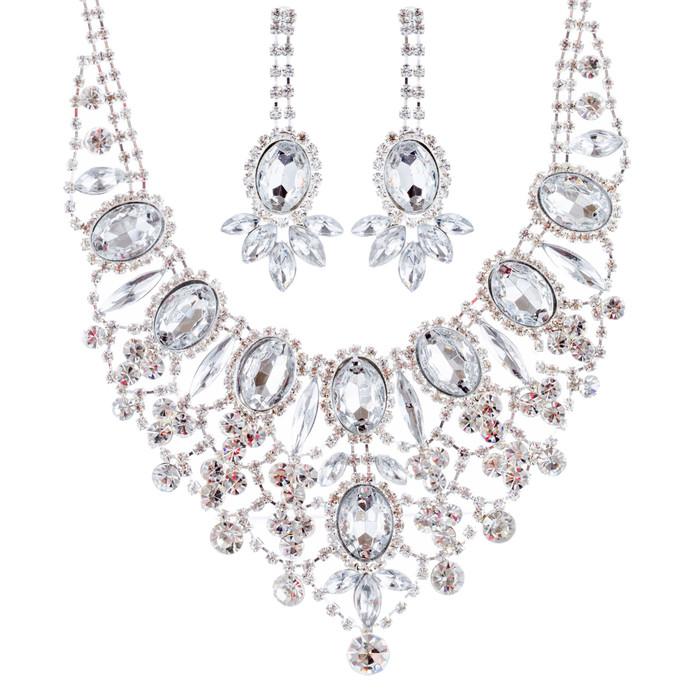 Bridal Wedding Jewelry Set Crystal Rhinestone Luxurious Dazzle Necklace Silver