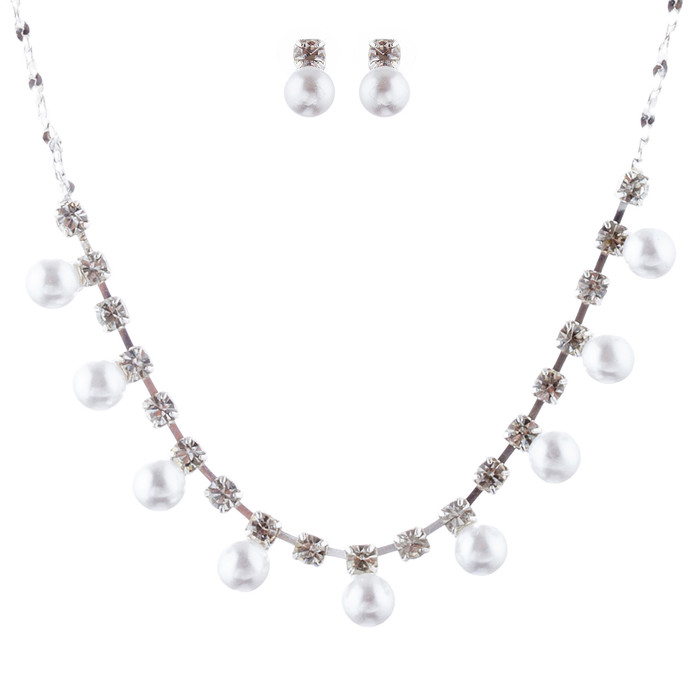 Bridal Wedding Jewelry Set Crystal Rhinestone Elegant Pearl Necklace Silver