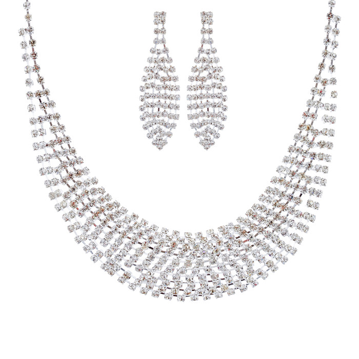 Bridal Wedding Jewelry Set Sparkle Crystal Rhinestone Bib Design Necklace Silver