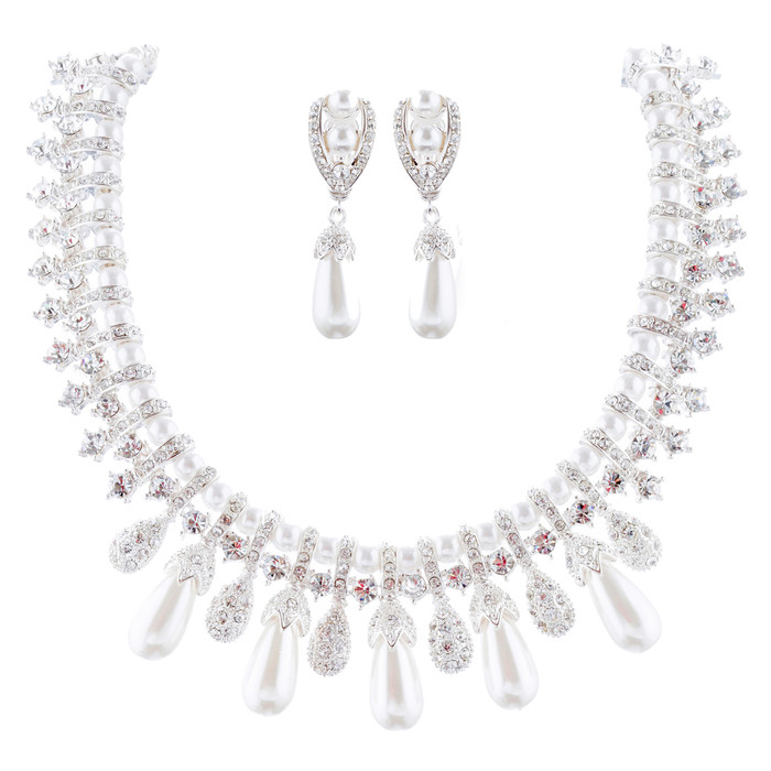 Bridal Wedding Jewelry Set Crystal Pearl Vintage Teardrop Clip-On