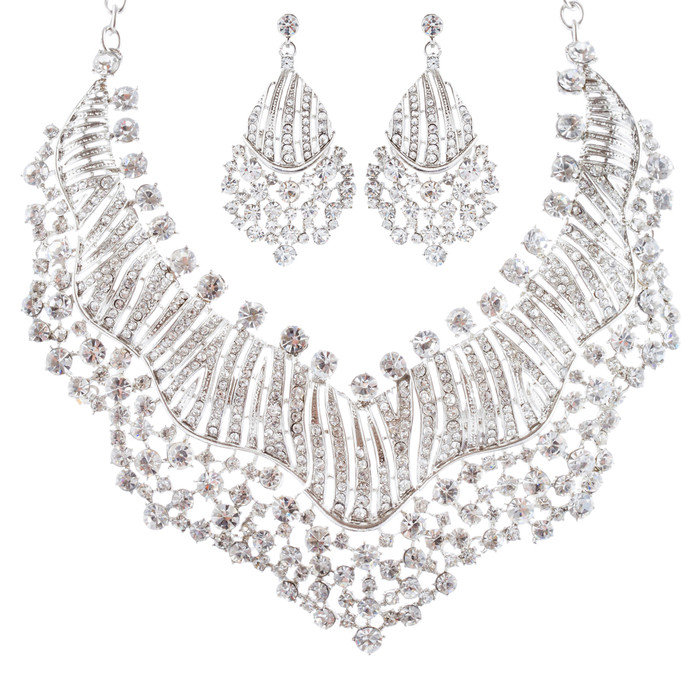 Bridal Wedding Jewelry Set Crystal Rhinestones Sparkle Wavy Bib Necklace Silver