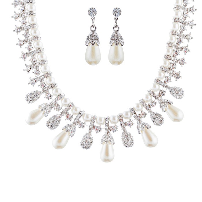 Bridal Wedding Jewelry Set Necklace Crystal TD Pearl Bib Choker Design Silver
