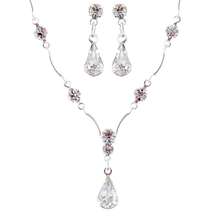 Bridal Wedding Jewelry Set Crystal Rhinestone Classy Y Drop Necklace Silver