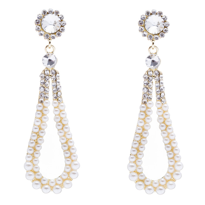 Bridal Wedding Jewelry Crystal Rhinestone Pearl Hoop Elegant Dangle Earring Gold