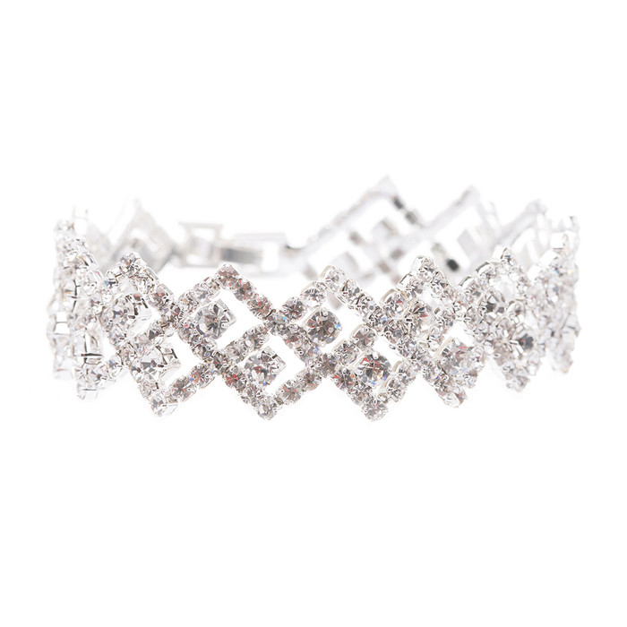 Bridal Wedding Jewelry Crystal Rhinestone Zig Zagged Dazzle Fashion Bracelet