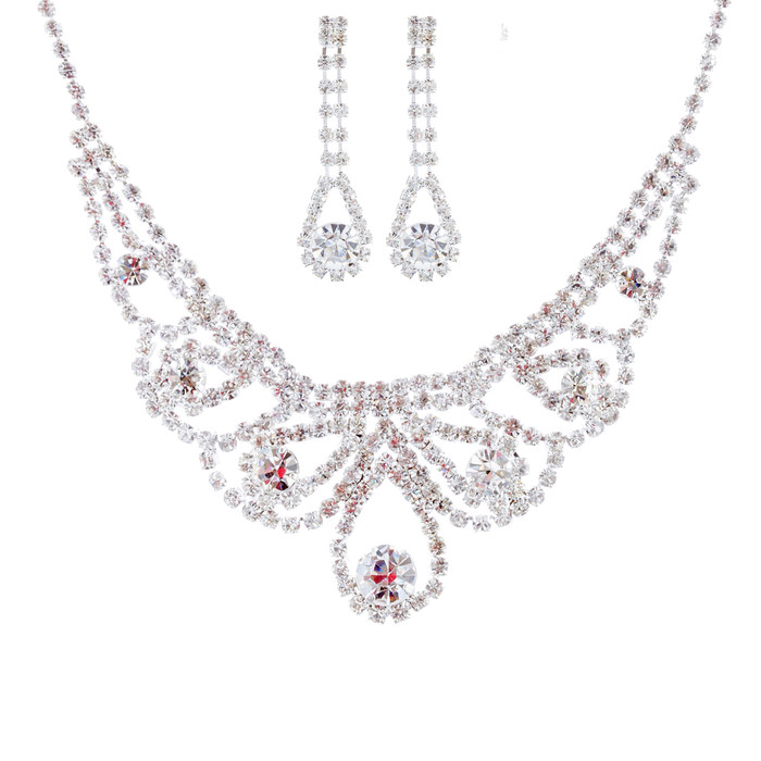 Bridal Wedding Jewelry Set Crystal Rhinestone Classic Dazzle Bib Necklace SV