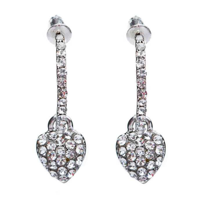 Fashion Adorable Sweet  Dangling Crystal Rhinestone Heart Charm Hoop Earrings