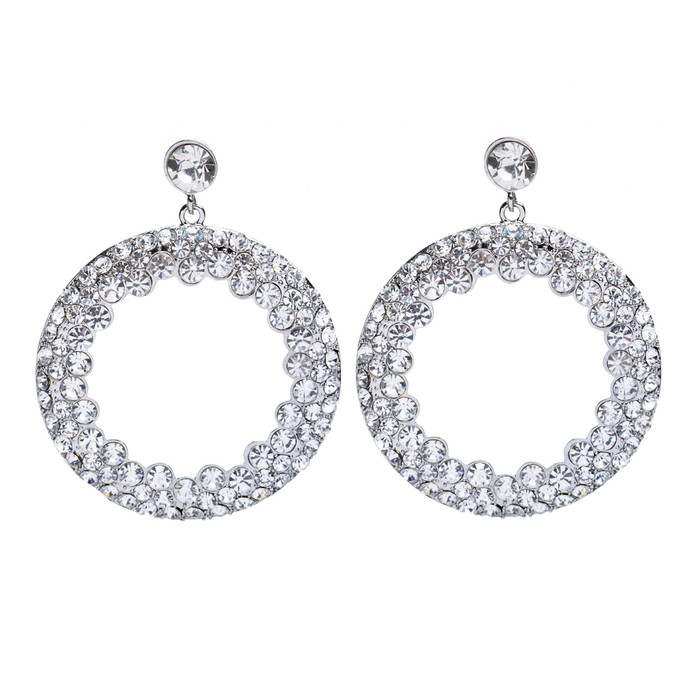 Beautiful Dazzling Crystal Rhinestone Round Circle Dangle Drop Earrings Multi