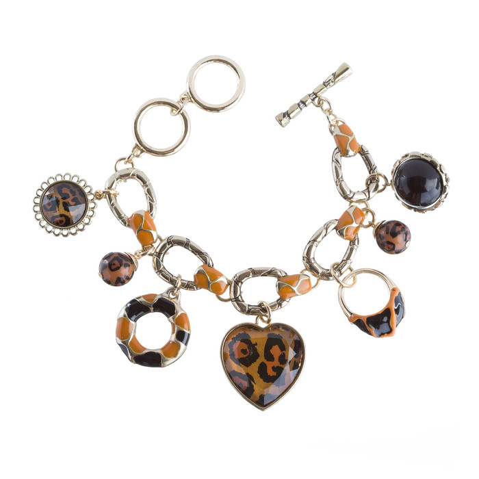 Beautiful Beads Heart Animal Print Charm Link Fashion Bracelet Gold Brown