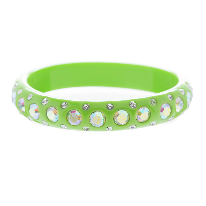 Fashion Dazzle Crystal Rhinestone Lucite Chic Stylish Bangle Bracelet AB Green