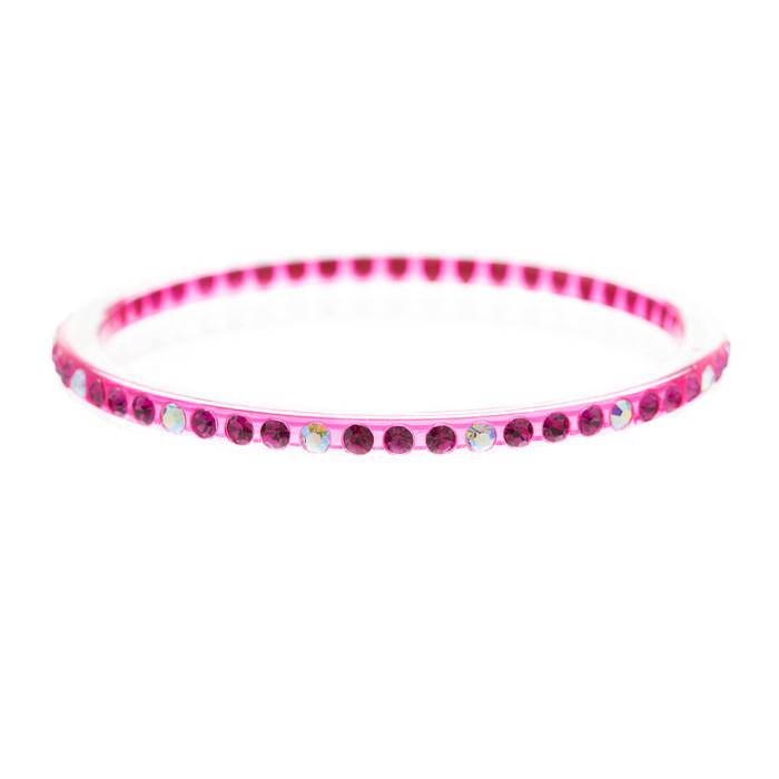 Fashion Sparkle Crystal Rhinestone Lucite Simple Liner Bangle Bracelet Pink