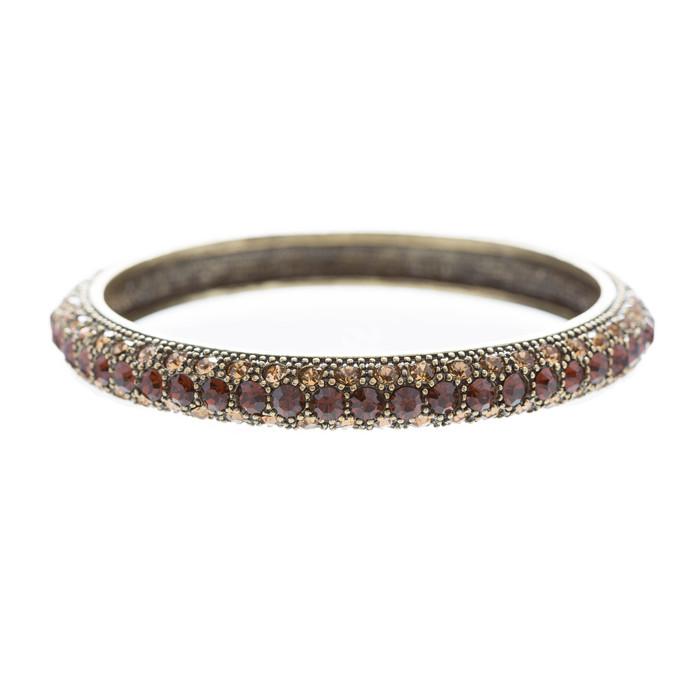Beautiful Stunning Crystal Rhinestones Metal Bangle Bracelet Antique Brown