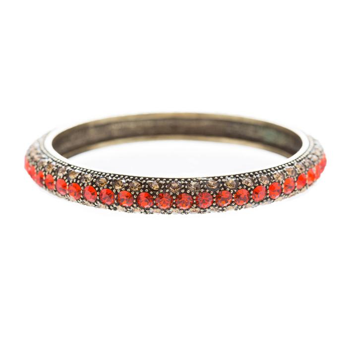 Beautiful Stunning Crystal Rhinestones Metal Bangle Bracelet Antique Red