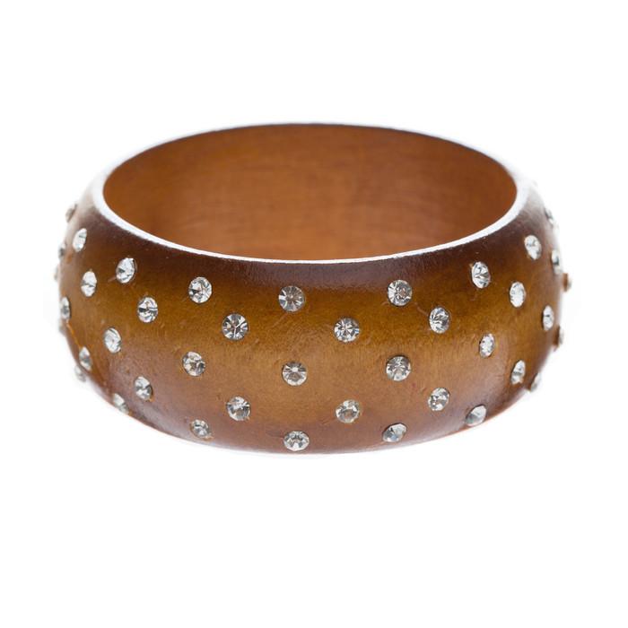 Chic Fashion Trendy Crystal Rhinestone Wide Wood Bangle Bracelet Medium Brown