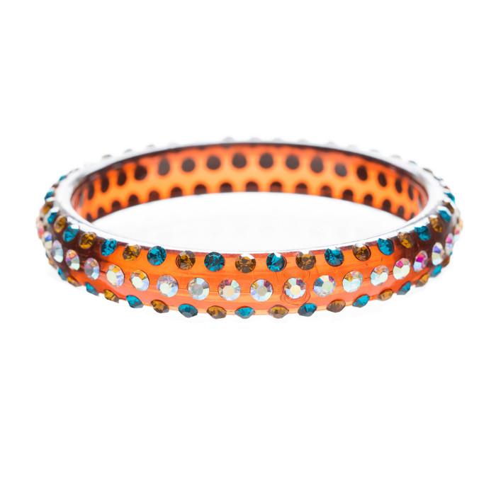 Beautiful Dazzle Crystal Rhinestone Stylish Translucent Bangle Bracelet Brown