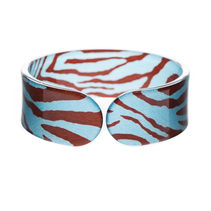Gorgeous Fashion Zebra Pattern Animal Print Cuff Bracelet Black Blue