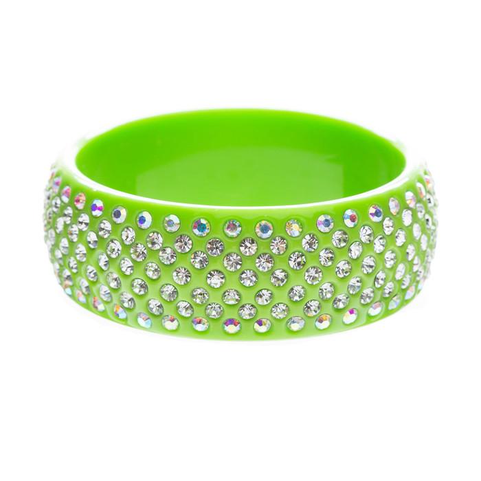 Stunning Sparkle Crystal Rhinestone Studs Design Wide Fashion Bangle Green