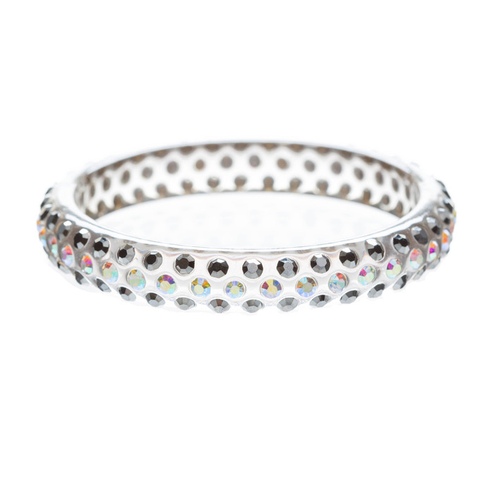Beautiful Dazzle Crystal Rhinestone Stylish Translucent Bangle Bracelet Gray