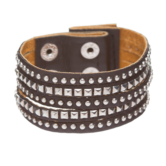 Chic Trendy Multi Metal Studs Style Genuine Leather Wrap Fashion Bracelet Brown