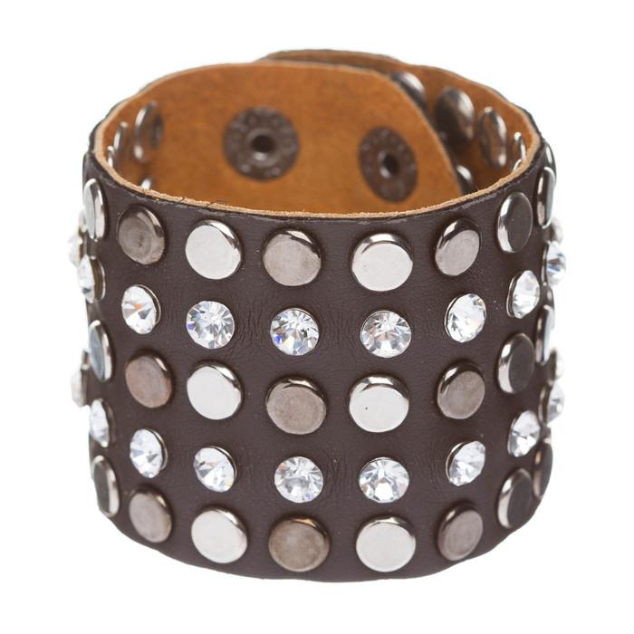 Dazzle Crystal Rhinestone Metal Studs Style Leather Wrap Fashion Bracelet Brown