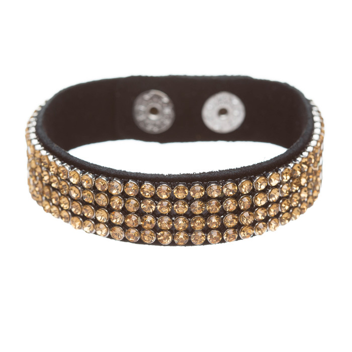 Simple Liner Sparkle Crystal Rhinestone Faux Leather Wrap Fashion Bracelet Brown