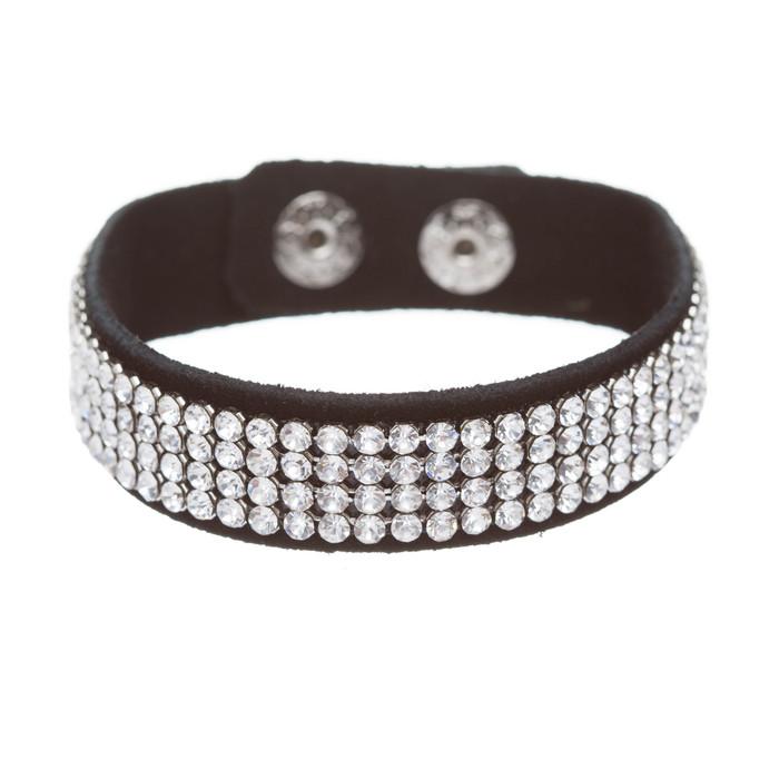 Simple Liner Sparkle Crystal Rhinestone Faux Leather Wrap Fashion Bracelet Clear