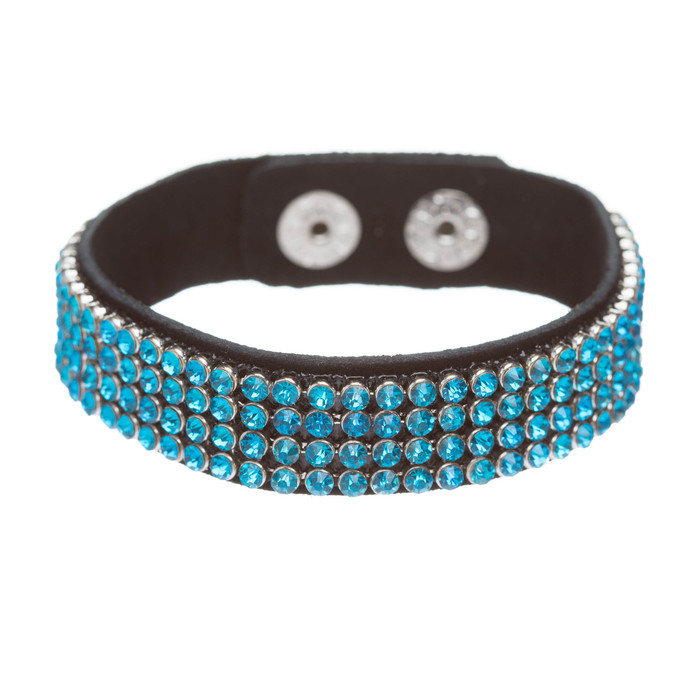 Simple Liner Sparkle Crystal Rhinestone Faux Leather Wrap Fashion Bracelet Turqu