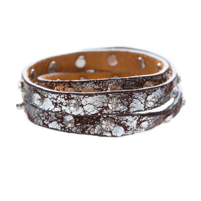 Trendy Distressed Faux Leather Crystal Studs Design Fashion Wrap Bracelet Brown