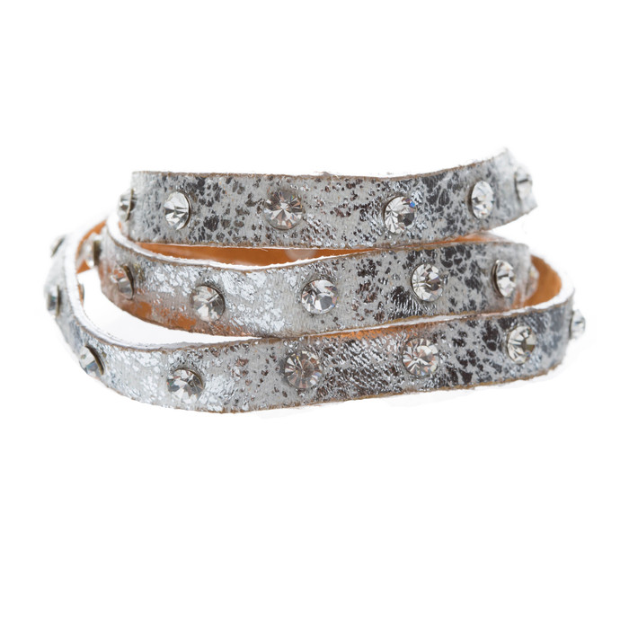 Trendy Distressed Faux Leather Crystal Studs Design Fashion Wrap Bracelet White