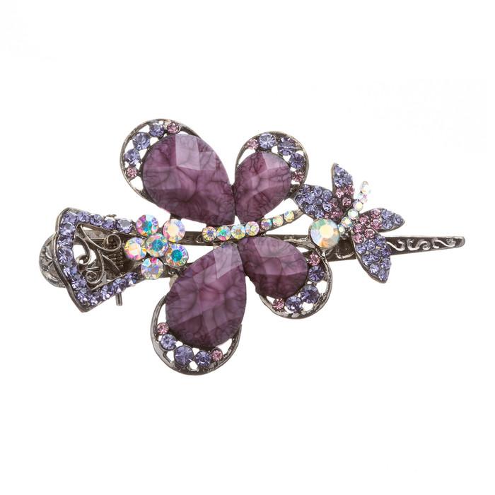 Beautiful Fashion Women Crystal Rhinestone Butterfly Hair Clip Pin Purple
