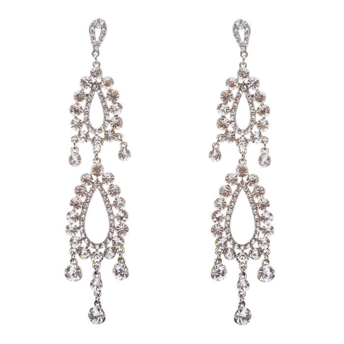 Bridal Wedding Jewelry Crystal Rhinestone Clever Unique Design Dangle Earrings