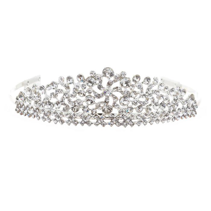 Bridal Wedding Jewelry Crystal Rhinestone Lined Motif Dazzle Hair Tiara Headband