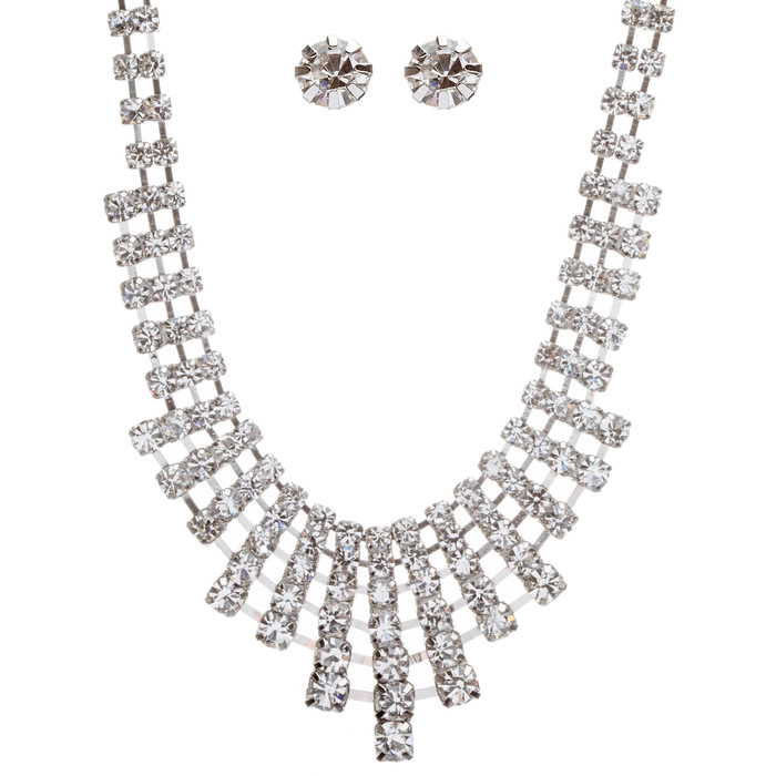 Bridal Wedding Jewelry Set Crystal Rhinestone Acr Drape Bib Design Necklace
