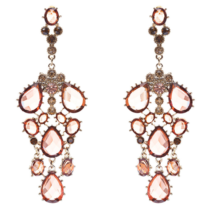 Fashion Chic Sparkle Crystal Rhinestone Stone Dangle Statement Earrings Brown