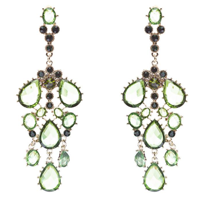 Fashion Chic Sparkle Crystal Rhinestone Stone Dangle Statement Earrings Green