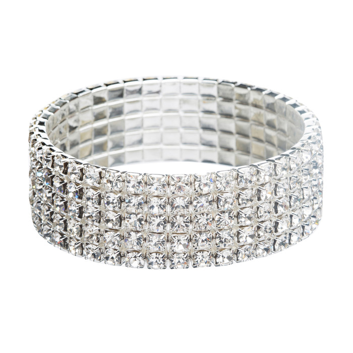 Bridal Wedding Jewelry Crystal Rhinestone 4-Row Fashion Stretch Bracelet Silver