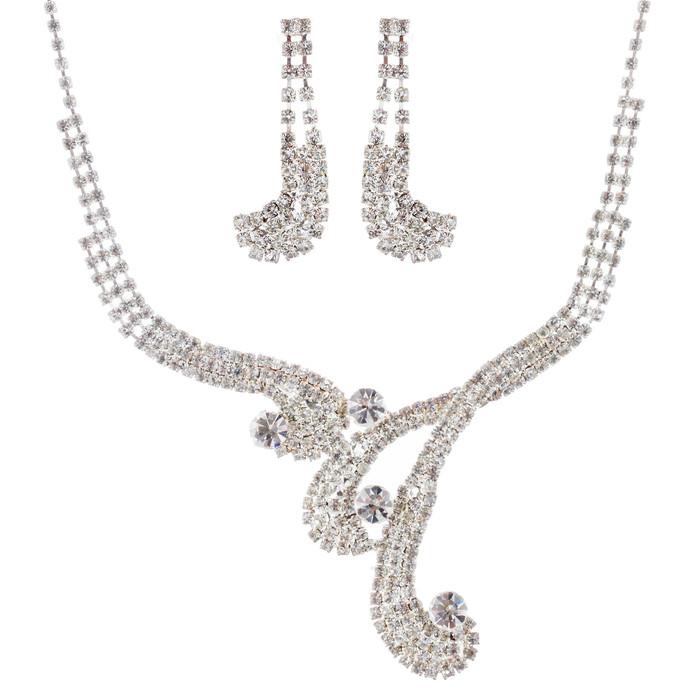 Bridal Wedding Jewelry Set Necklace Earring Crystal Rhinestone Vintage Silver