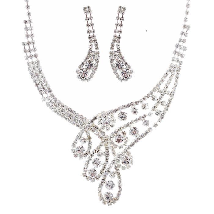 Bridal Wedding Jewelry Set Necklace Earring Crystal Rhinestone Classic Silver