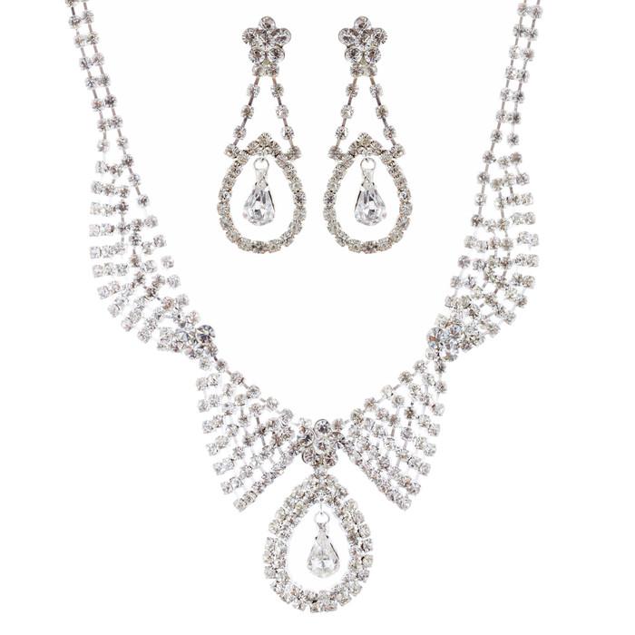 Bridal Wedding Jewelry Set Necklace Earring Crystal Rhinestone Dangle Silver