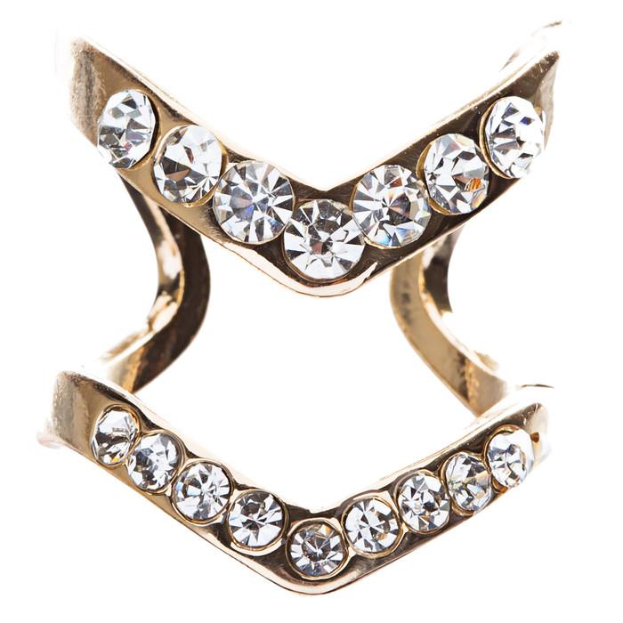 Chic Trendy Gorgeous Simple Classic Crystal Rhinestone V Fashion Ring R207